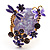 Exquisite Flower And Butterfly Cocktail Ring (Gold And Purple) - view 6