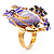 Exquisite Flower And Butterfly Cocktail Ring (Gold And Purple) - view 8