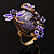 Exquisite Flower And Butterfly Cocktail Ring (Gold And Purple) - view 9