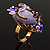 Exquisite Flower And Butterfly Cocktail Ring (Gold And Purple) - view 5