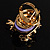 Exquisite Flower And Butterfly Cocktail Ring (Gold And Purple) - view 7