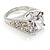 Clear Crystal Cz Statement Ring (Silver Tone) - view 12