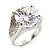 Clear Crystal Cz Statement Ring (Silver Tone) - view 11