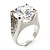 Clear Crystal Cz Statement Ring (Silver Tone) - view 3