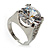 Clear Crystal Cz Statement Ring (Silver Tone) - view 5