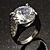 Clear Crystal Cz Statement Ring (Silver Tone) - view 6