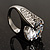 Clear Crystal Cz Statement Ring (Silver Tone) - view 7