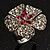 Silver Tone Diamante Flower Cocktail Ring (Clear & Fuchsia)