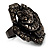 Sultry Crystal Rose Cocktail Ring (Black Tone) - view 9