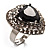 Jet-Black CZ Heart Cocktail Ring (Silver Tone) - view 8