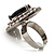 Jet-Black CZ Heart Cocktail Ring (Silver Tone) - view 7