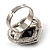 Jet-Black CZ Heart Cocktail Ring (Silver Tone) - view 10