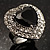 Jet-Black CZ Heart Cocktail Ring (Silver Tone) - view 6