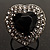 Jet-Black CZ Heart Cocktail Ring (Silver Tone) - view 11