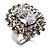 Clear Oval-Cut Cz Crystal Cocktail Ring (Silver Tone)