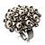 Bridal Imitation Pearl Crystal Floral Ring (Silver Tone) - view 8