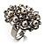 Bridal Imitation Pearl Crystal Floral Ring (Silver Tone) - view 9