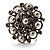 Bridal Imitation Pearl Crystal Floral Ring (Silver Tone) - view 3