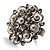 Bridal Imitation Pearl Crystal Floral Ring (Silver Tone) - view 10