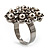 Bridal Imitation Pearl Crystal Floral Ring (Silver Tone) - view 5