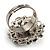 Bridal Imitation Pearl Crystal Floral Ring (Silver Tone) - view 7