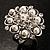 Bridal Imitation Pearl Crystal Floral Ring (Silver Tone) - view 2