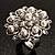 Bridal Imitation Pearl Crystal Floral Ring (Silver Tone) - view 11