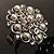 Bridal Imitation Pearl Crystal Floral Ring (Silver Tone) - view 4