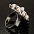 Bridal Imitation Pearl Crystal Floral Ring (Silver Tone) - view 6