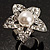 Crystal Star Pear Style Fashion Ring (Silver Tone)