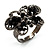 Charming Jet Black Diamante Butterfly Ring