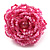Baby Pink Glass Bead Flower Stretch Ring - view 2