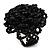 Black Glass Bead Flower Stretch Ring - view 4