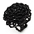 Black Glass Bead Flower Stretch Ring