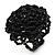 Black Glass Bead Flower Stretch Ring
