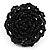 Black Glass Bead Flower Stretch Ring - view 3