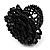 Black Glass Bead Flower Stretch Ring - view 2