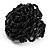 Black Glass Bead Flower Stretch Ring - view 5