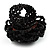 Black Glass Bead Flower Stretch Ring - view 6