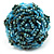 Light Blue Glass Bead Flower Stretch Ring - view 3