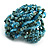 Light Blue Glass Bead Flower Stretch Ring - view 4