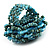 Light Blue Glass Bead Flower Stretch Ring - view 5