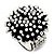 Black & White Glass Floral Stretch Ring - view 3