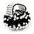 Black & White Glass Floral Stretch Ring - view 5