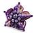 Purple Shell Flower Rings (Silver Tone)