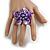 Purple Shell Flower Rings (Silver Tone) - view 3