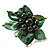 Olive Green Shell Flower Rings (Silver Tone)
