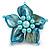Light Blue Shell Flower Rings (Silver Tone)