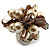 Faux Pearl & Shell Cluster Silver Tone Ring (Light Cream & Antique White) - view 2
