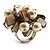 Faux Pearl & Shell Cluster Silver Tone Ring (Light Cream & Antique White) - view 3